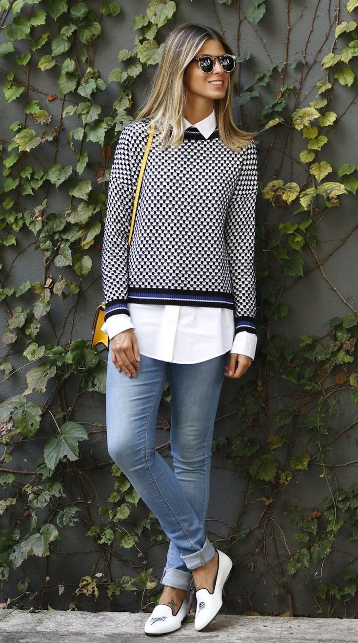 b16bb914e2fb best office outfit idea / sweater + white shirt + yellow bag + skinnies +  white loafers