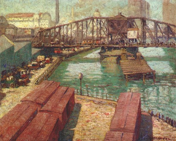 Charles William Dahlgreen (American, 1864 - 1955) Rush Street Bridge