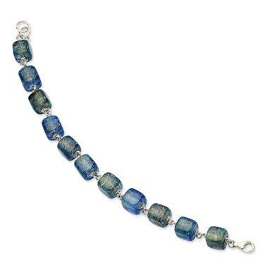 Sterling Silver Blue Dichroic Glass Bracelet - 8 Inch - JewelryWeb JewelryWeb. $91.20