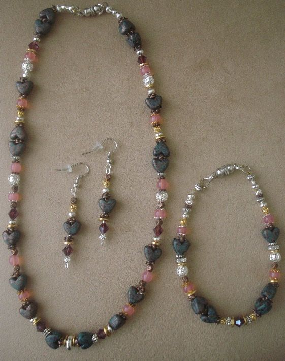 These are so pretty, I bought for myself for Valentines Day.  Heart Stone Collection by Gigi Colette on Etsy, $50.00