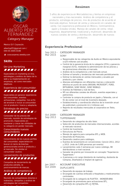 Category Manager Ejemplo De Curriculum Manager Resume Resume Resume Template Free