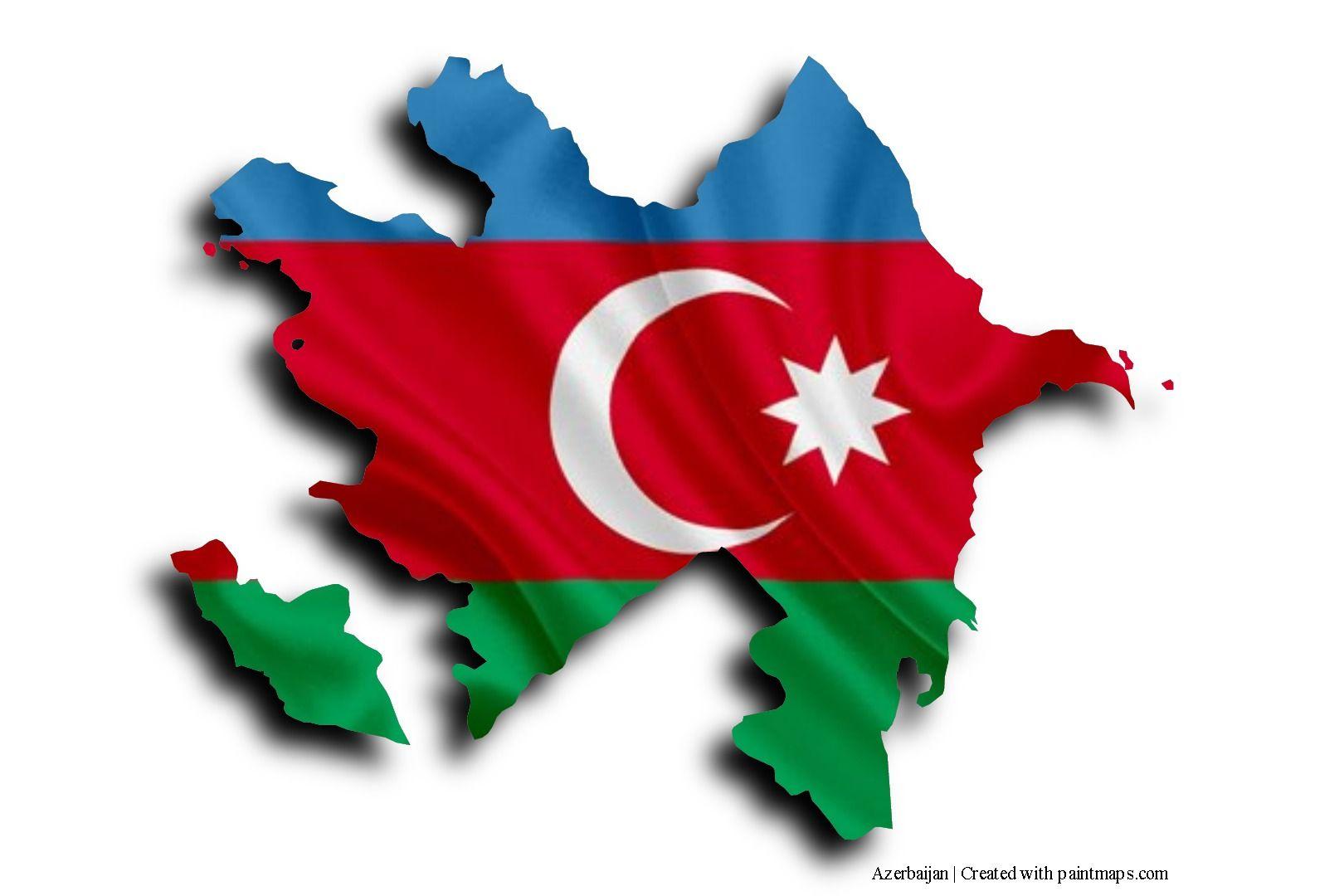 Flag Of Azerbaijan On Azerbaijan Map Flag Art Azerbaijan Flag Photo Maps