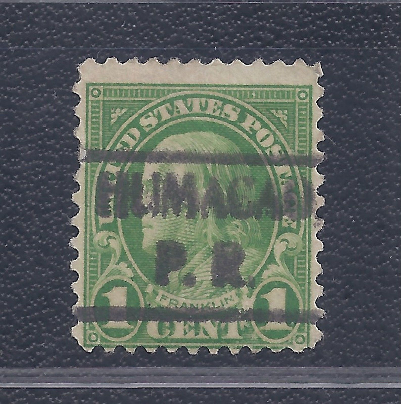 1 Cent Benjamin Franklin Stamp With HUMACAO P R Precancel PSS Type 492 On Scott 632 The Perf 11x10 2 From 1926 34 Series