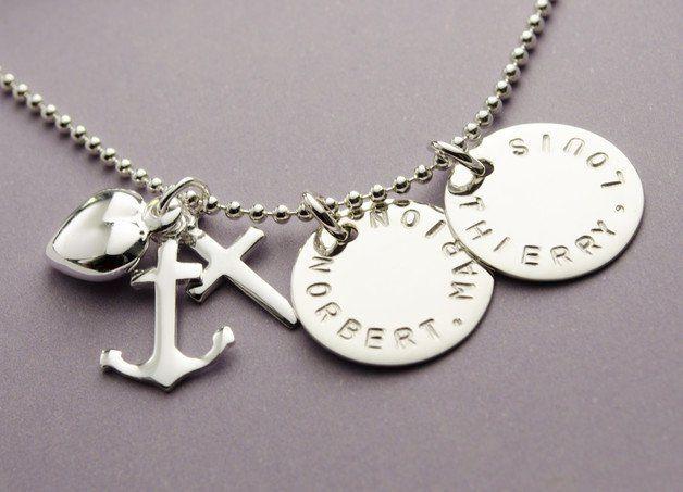 Namensketten - 925 SILBER Kette mit GRAVUR, Glaube Liebe Hoffnung - ein…