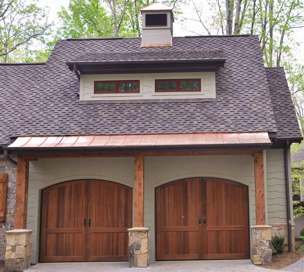 Medium Dark Wood Garage Doors Med To Dk Green House Color Nice Color Of Stone For Our Brick Green House Exterior Green House Color House Exterior