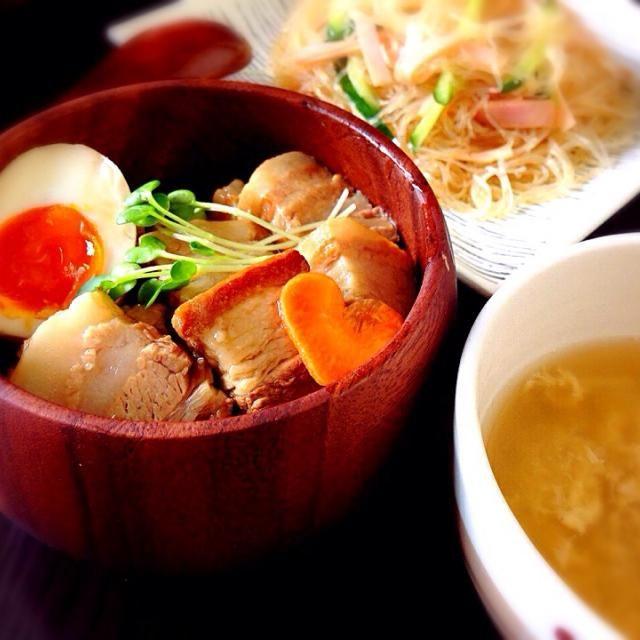 豚の角煮丼 春雨サラダ 中華スープ - 79件のもぐもぐ - 豚の角煮丼(´-`).。♡ by ha425