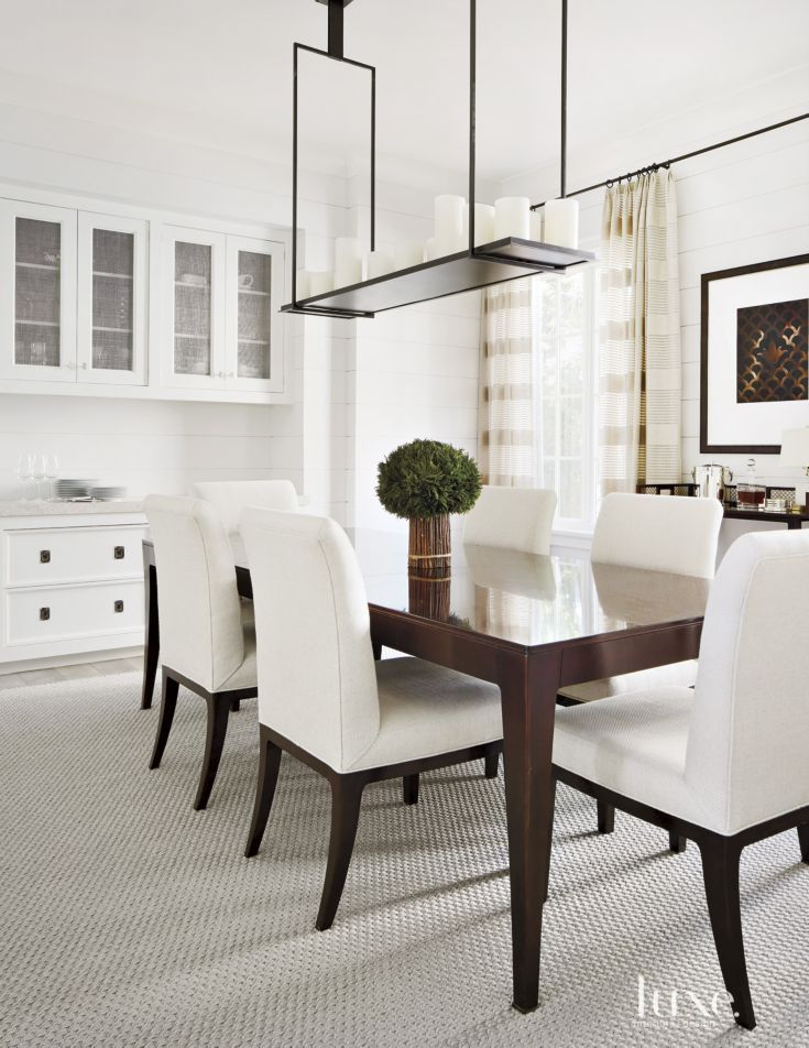 Transitional White Dining Room With Candle Light Fixture Transitional Dining Room White Dining Room White Sitting Room