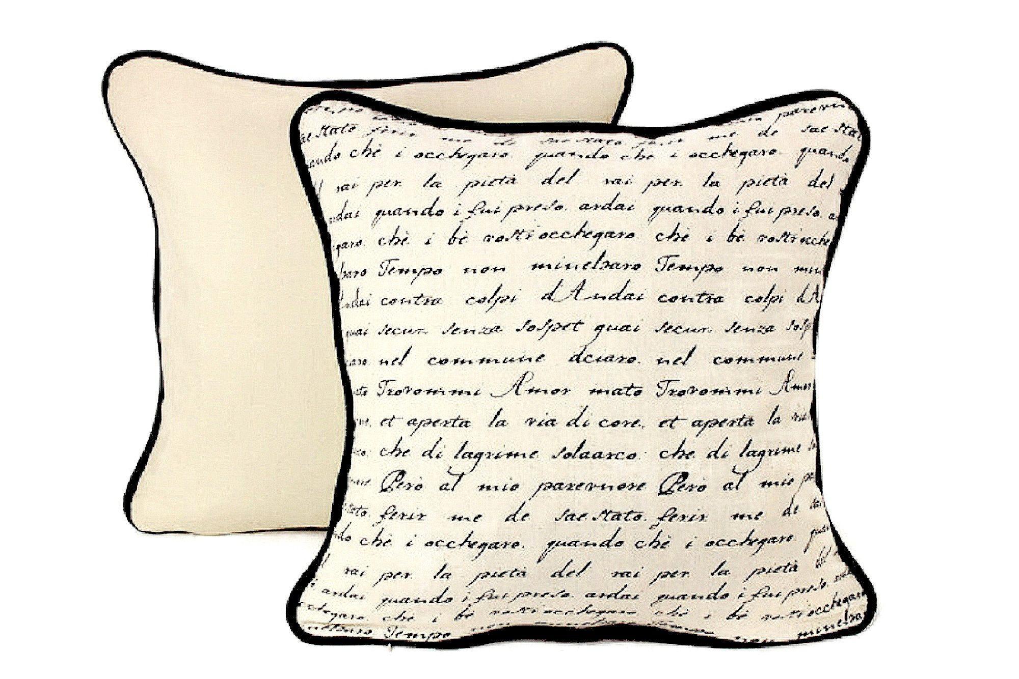 Linen French Script Pillow Cover Antique Writing Throw Pillow