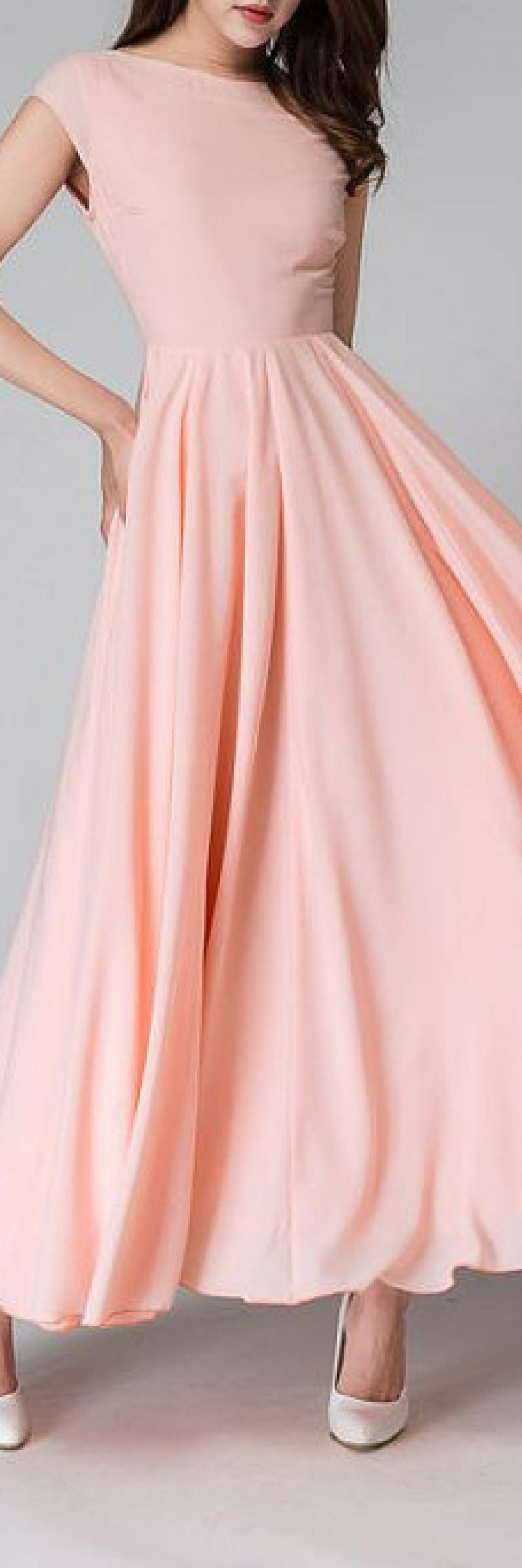 Pink long dress maxi dress maxi prom dress v neck dress cap