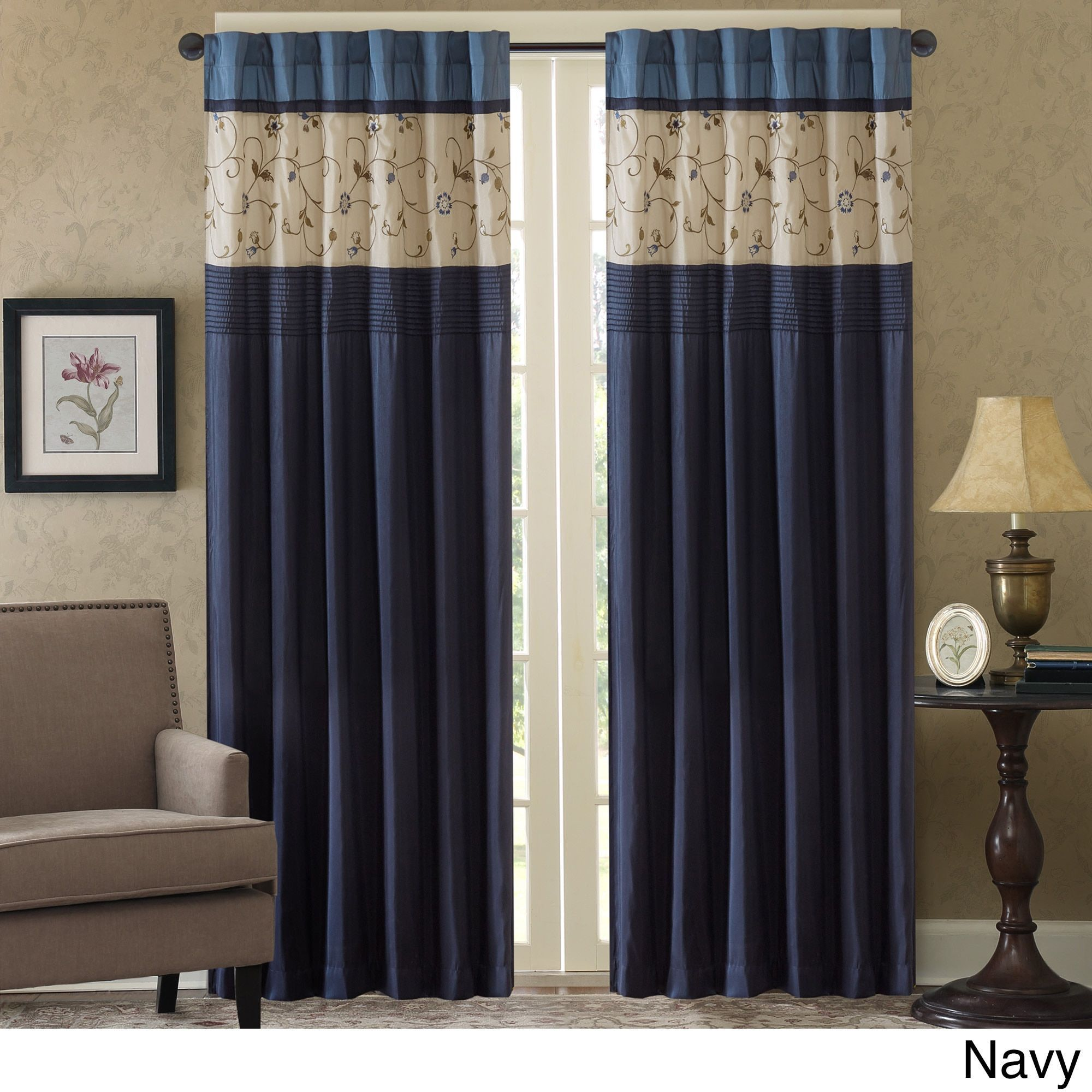 Madison Park Belle Embroidered Window Curtain Panel