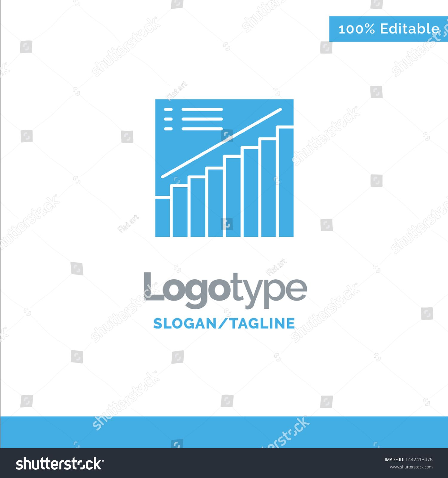 Chart Graph Analytics Presentation Sales Blue Solid Logo Template Place for Tagline