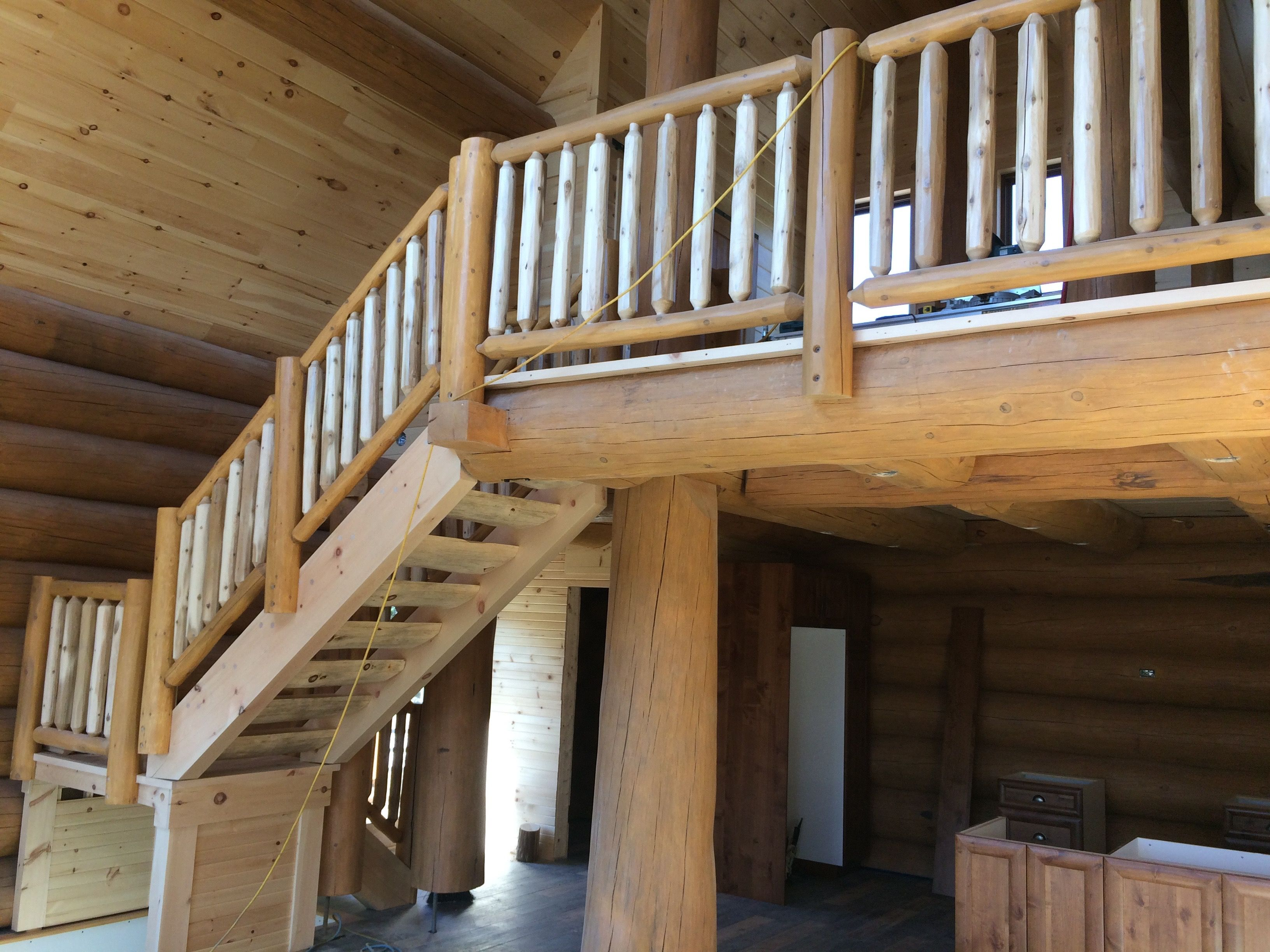 Best Log Stairs And Handrails By Near North Log Homes Log 400 x 300