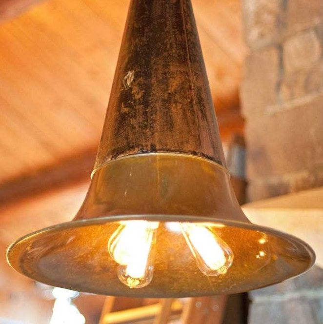 Lighting - The Victrola Pendant with vintage phonograph horn aged brass and porcelain sockets  (This is fabulous!)