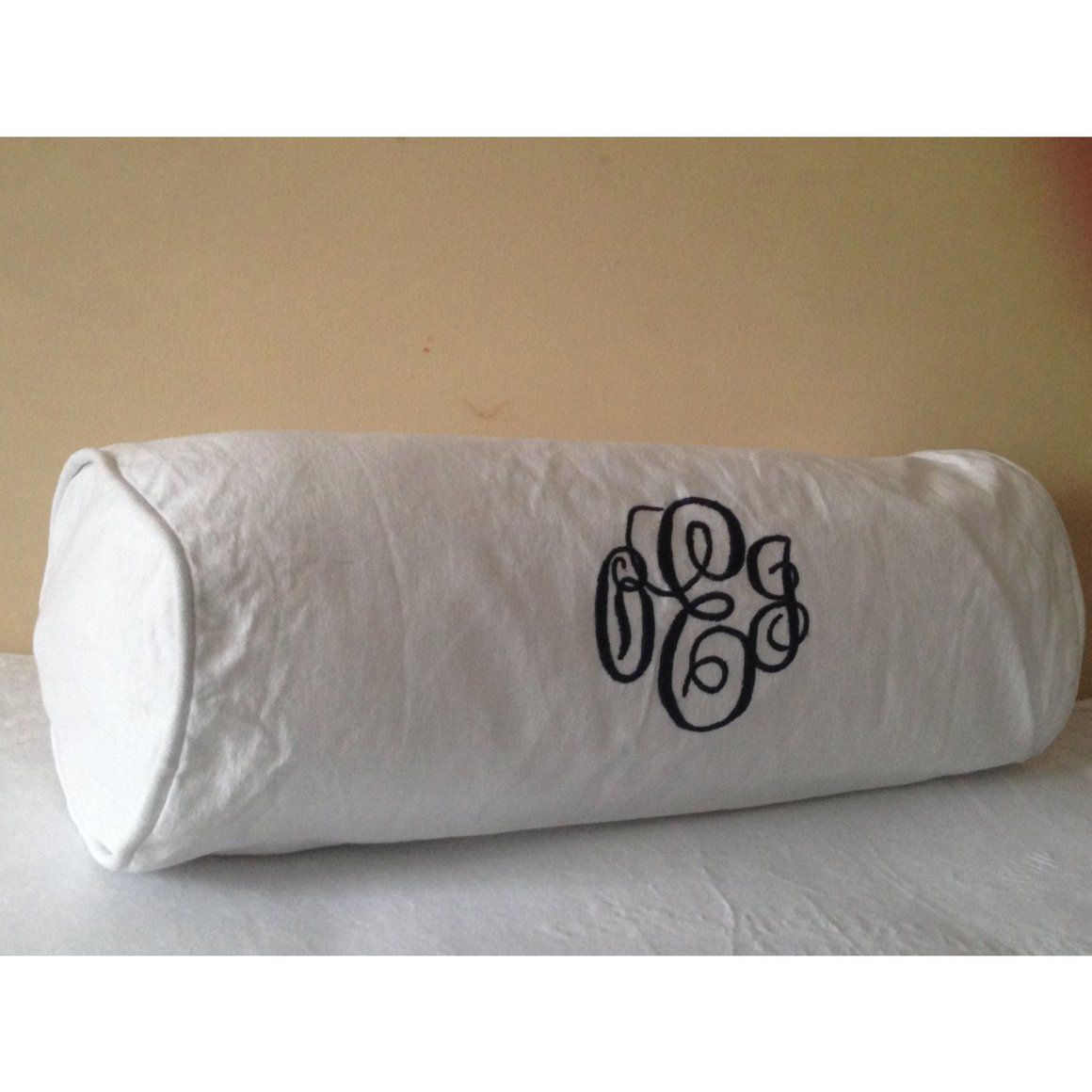 Incredible Monogram Bedding Bolster Cushion Cover With Piping Bolster Machost Co Dining Chair Design Ideas Machostcouk