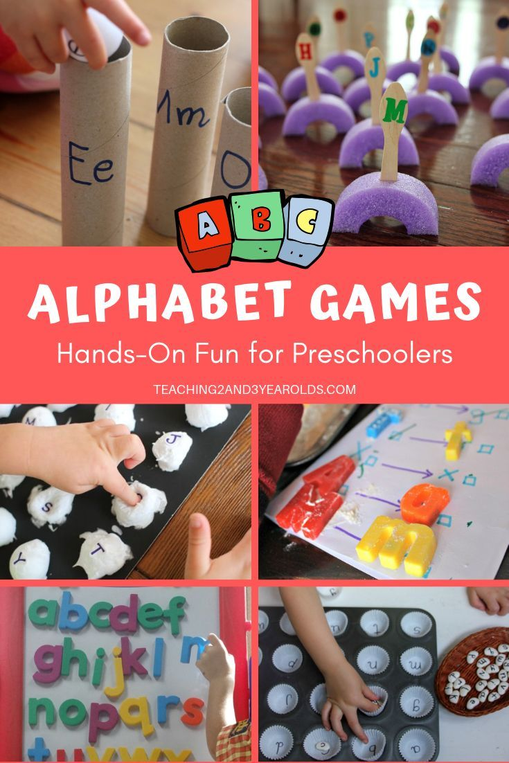 Looking for ways to work on the ABCs? These preschool alphabet games work on letter recognition and are hands-on fun! #preschool #alphabet #abc #letters #literacy #games #age3 #teaching2and3yearolds