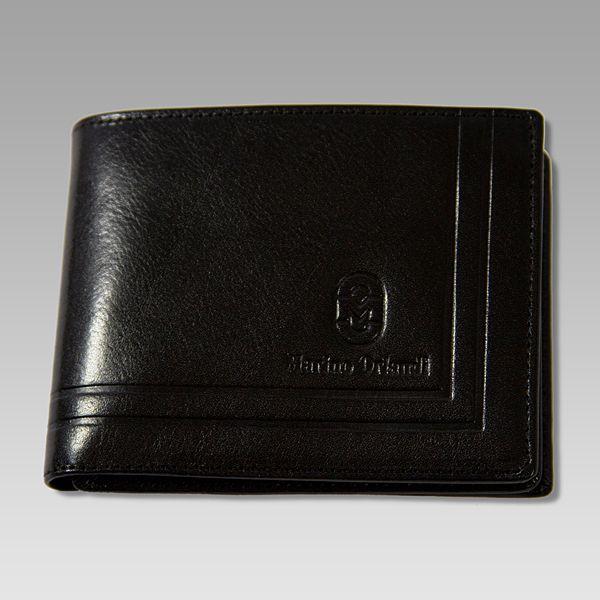 Marino Orlandi Italian Designer Classic Black Leather Men's Wallet On Sale $118.75