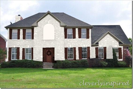 White Brick House With Brownish Trim