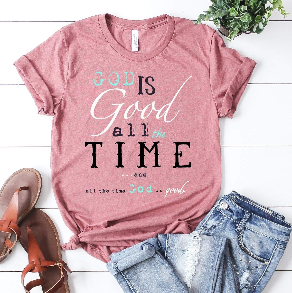 Unisex T-Shirt Womens Tops Short Sleeve Summer Casual Blouse Funny Gift Tee Shirts Sayings God is Good All The Time