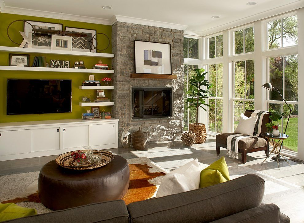 Fireplace Next To Tv Living Room Farmhouse With White Trim White