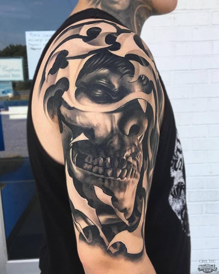 Realistic Black And Grey Arm Piece From Cris Realism Realistic Black Grey Skull Portrait Arm Grey Tattoo Black And Grey Tattoos Skull Face