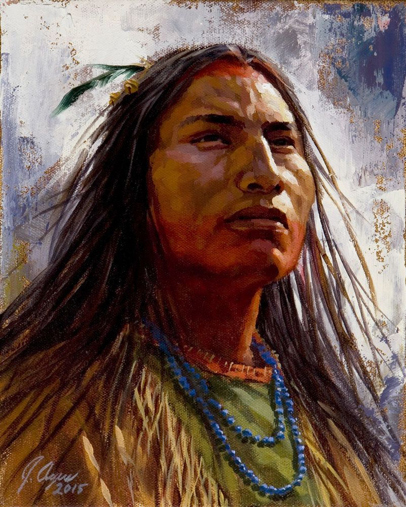 the brave shoshone warrior native american painting