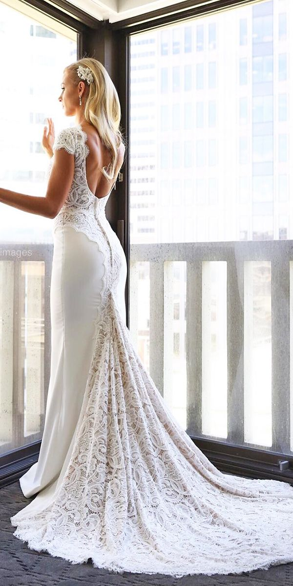 cap sleeve low back lace vintage wedding dresses with train by berta ...