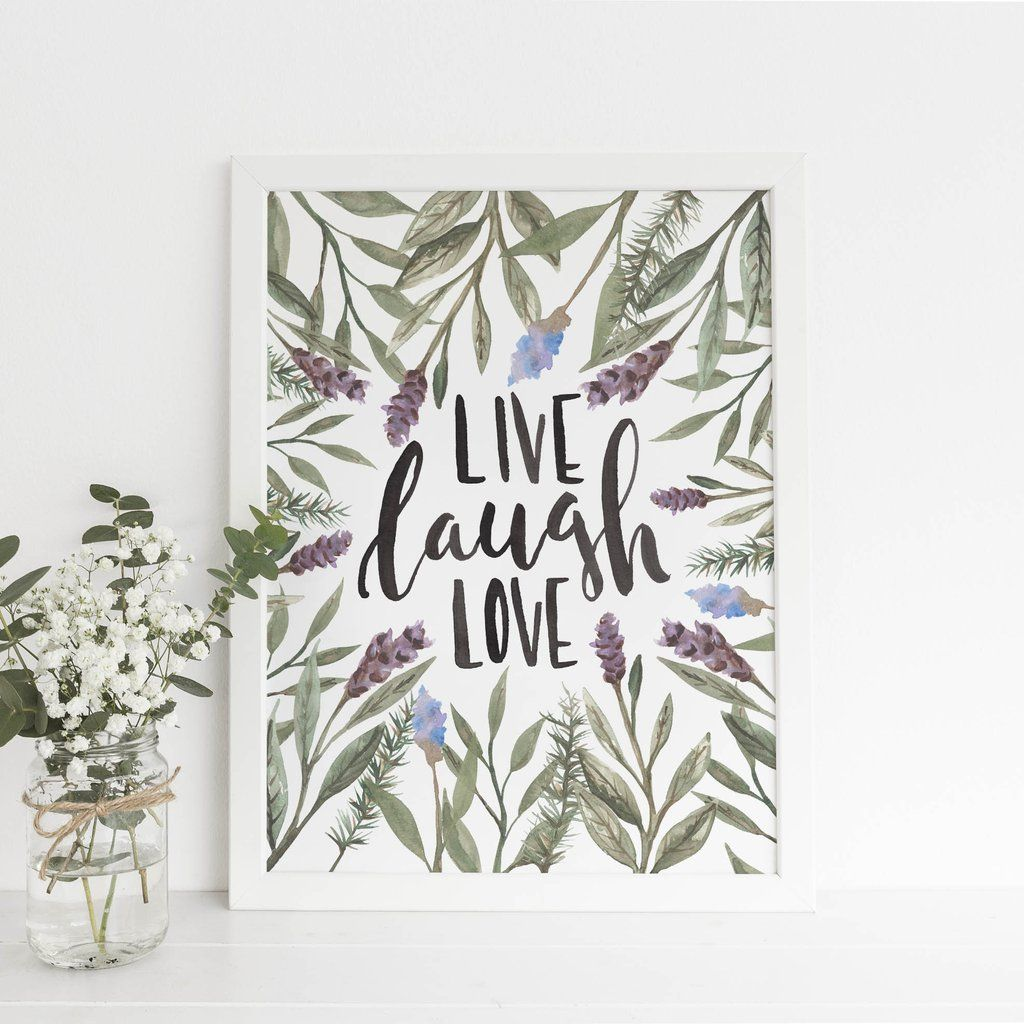 Live laugh love botanical quote wall art digital print quote wall