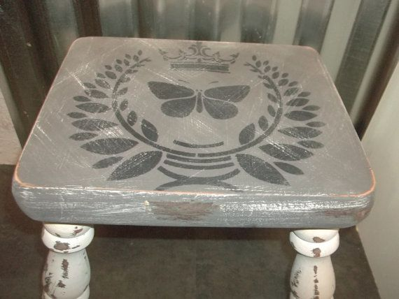 Shabby Mobili ~ Step stool shabby chic wood foot stool gray rustic white wash