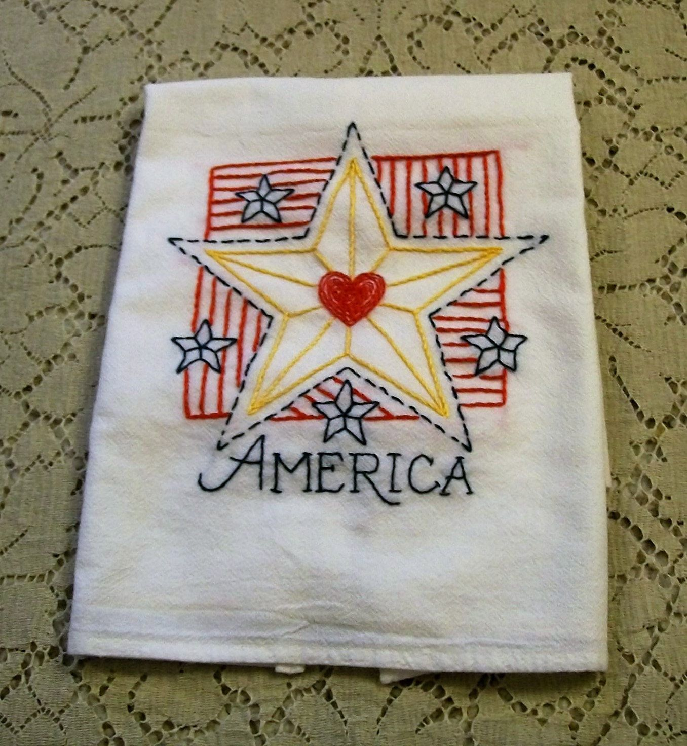 Cotton Dish Towel, Hand Embroidered Dish Towels, America, 4th Of July,  Kitchen