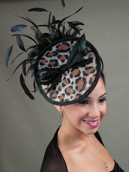 d54ae52bf8223 Leopard Derby Hat Fascinator