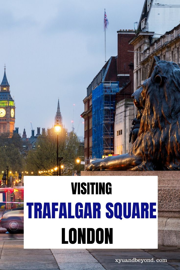 The iconic Trafalgar Square Lions London - visiting Trafalgar square and the lions of Trafalgar square, what is the history of the square. #London #UK #England #TrafalgarSquare #Trafalgarsquarelionslondon #Britain #travelUK #travelLondon #visitEngland