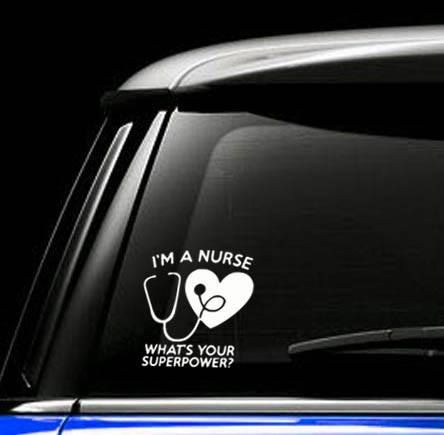 Nurse superpower decal personalize your car laptop mug water bottle folder or
