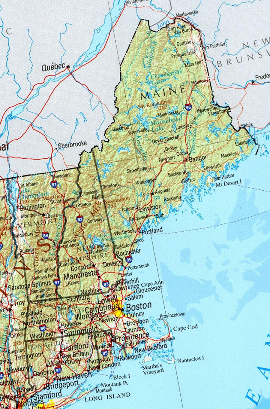Reference Map Of New England State MA Physical Map Printables - Massachusetts physical map