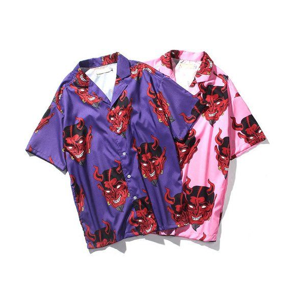 6caabda8 Devil Hawaiian Shirt, Vintage Pattern Button Down, Pink Purple Women Button  Up Shirt, Novelty Print