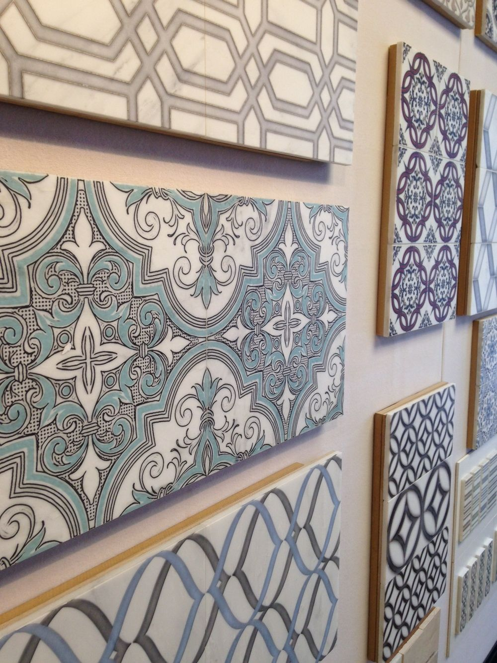 Come Check Out Our New Line Of Hand Printed Tile On Natural Stone Available In