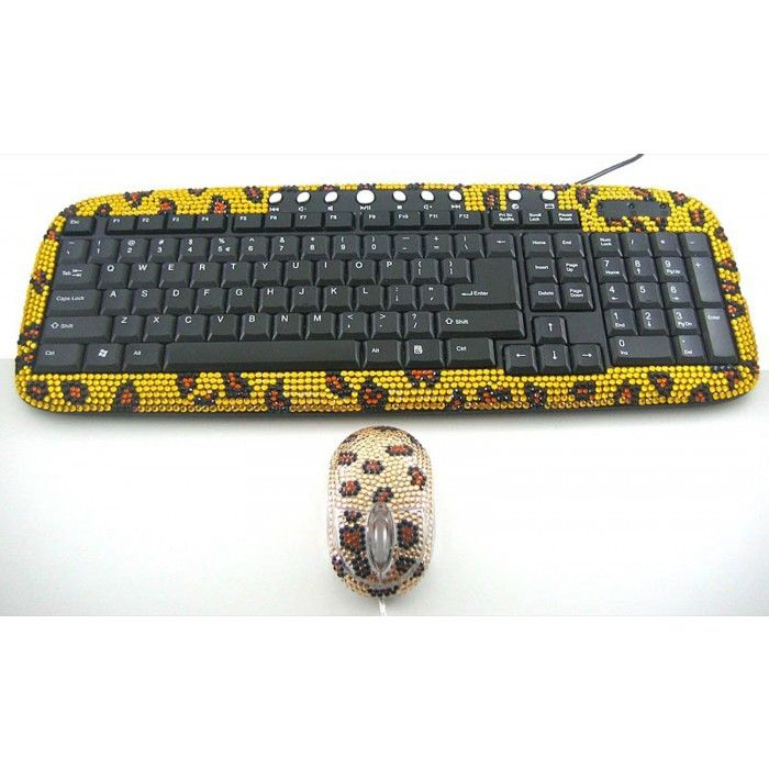2 Pack/Set Gold Leopard Crystal Rhinestone USB Computer Keyboard + Mouse