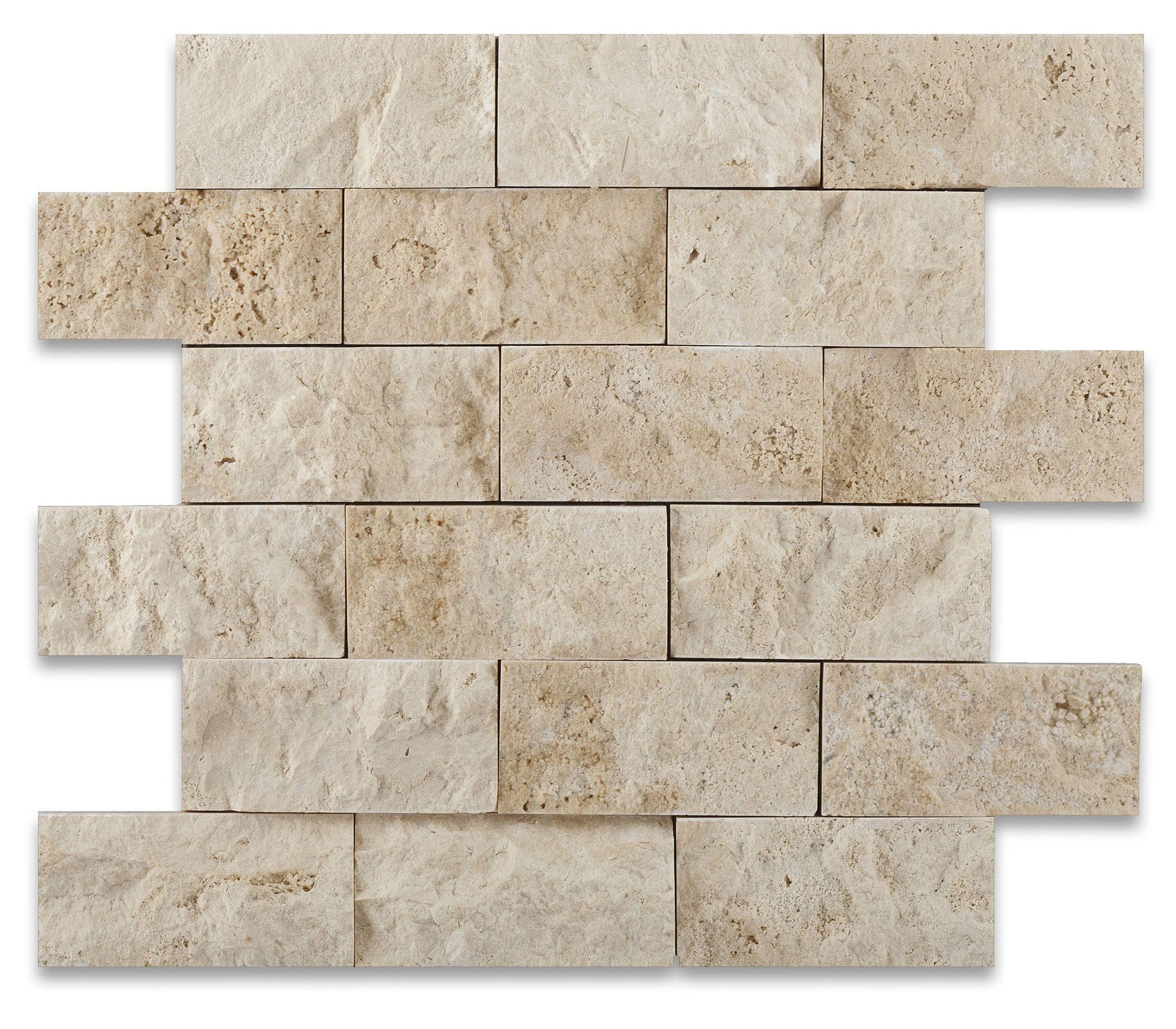 2 X 4 Ivory Travertine Split-Faced Brick Mosaic Tile