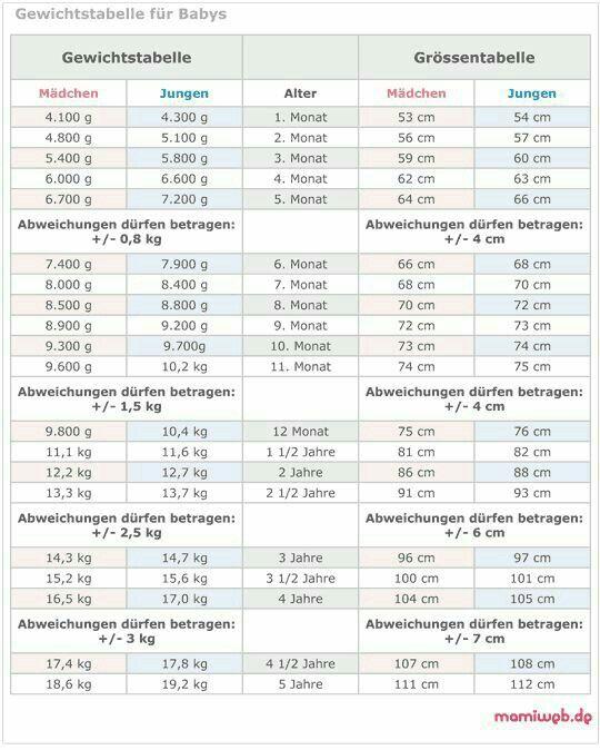 Größen und Gewichtstabelle (mit Bildern
