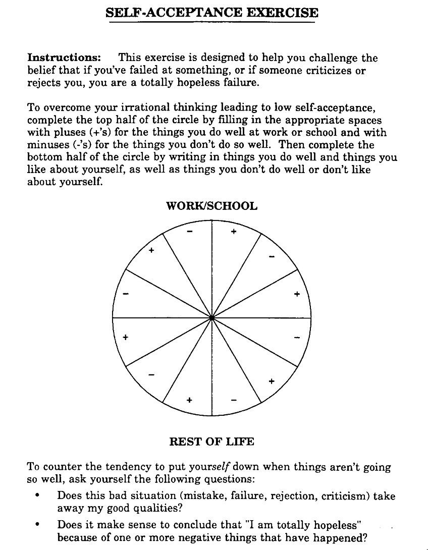 Self Acceptance Exercise Worksheet Rational Emotive Behaviour Therapy From Rational Emotive Behavior Therapy Therapy Worksheets Growth Mindset Bulletin Board