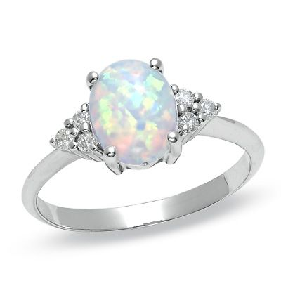 Oval Lab-Created Opal Ring with Diamond Accents in 10K White Gold - View All Rings - Zales