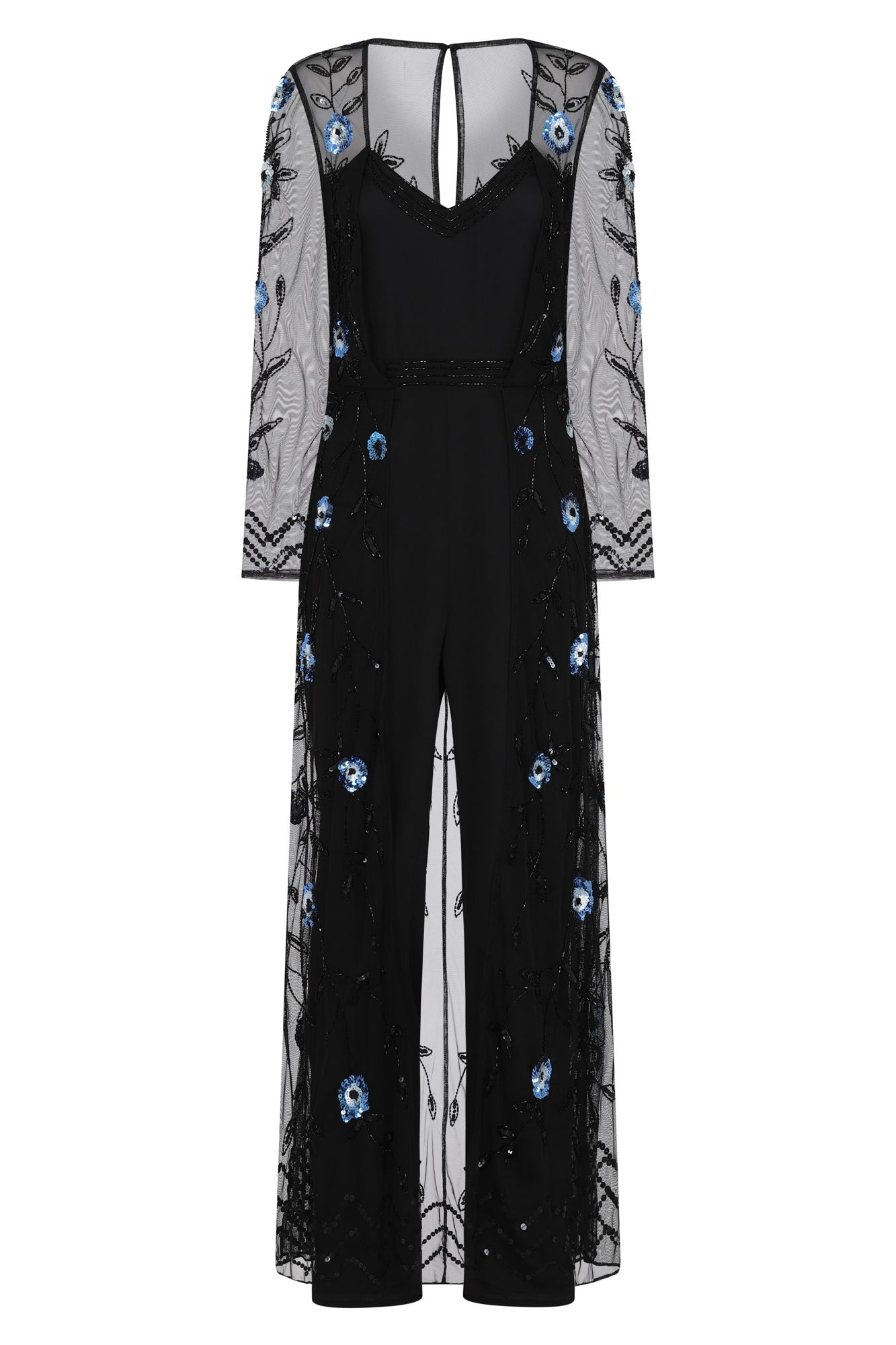 d38b581546 Frock and Frill Gene Allover Embellished Black Maxi Cape Jumpsuit