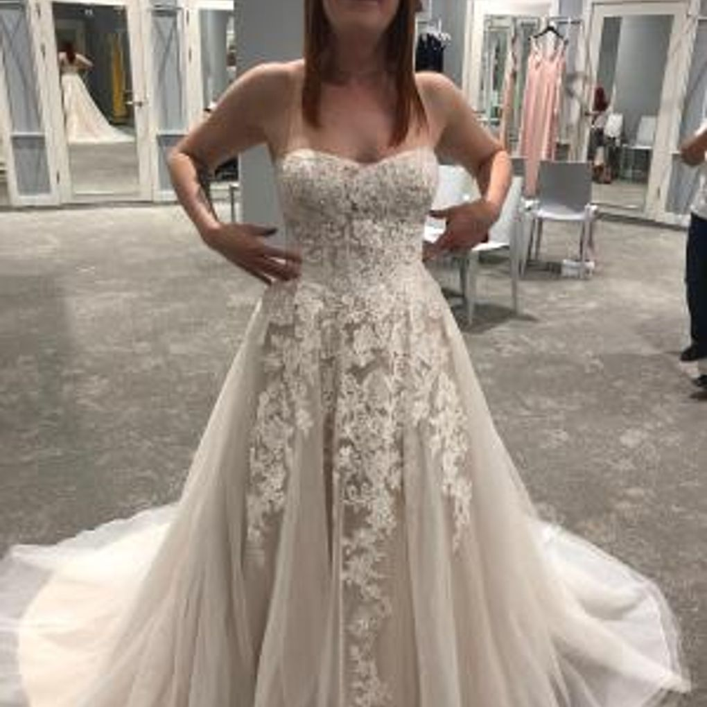 Ivory Lace Bodice Ball Gown Wedding Dress With Sheer Long: Sheer Lace And Tulle Ball Gown Wedding Dress Style WG3861
