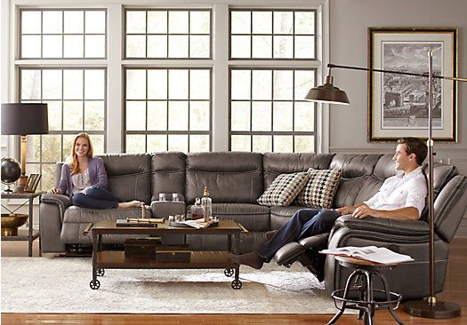 Best Cindy Crawford Home Barton Springs Gray 6 Pc Sectional In 400 x 300