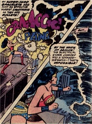 Wonder Woman Deflects The Lightning Bolts With Her Bracelets But Is