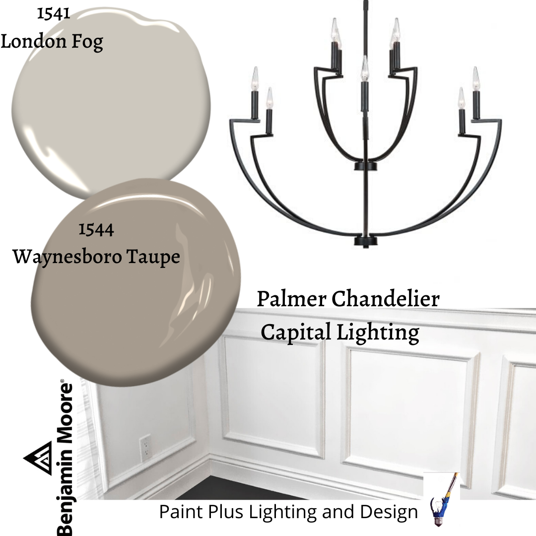 Paint Plus Design Board With Benjamin Moore S London Fog And Waynesboro Taupe Paired With Capital Lighting In 2020 With Images Benjamin Moore London Fog Waynesboro London Fog