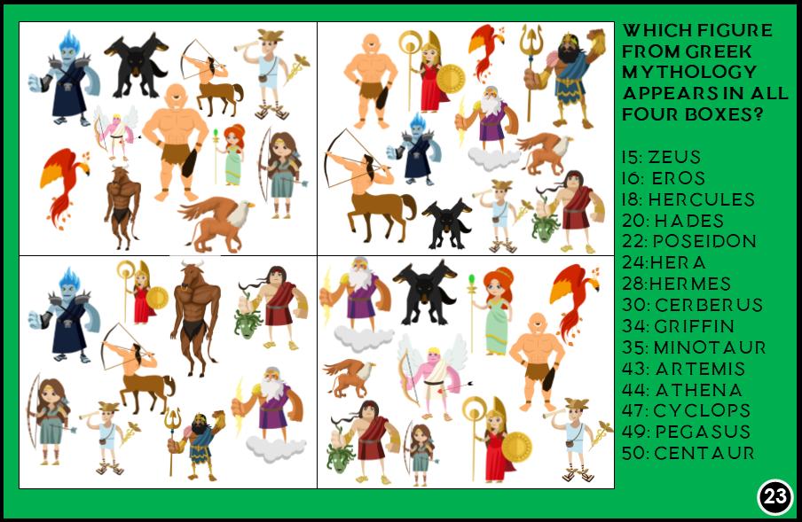 Greek Mythology Trivia Treasure Hunt Printable