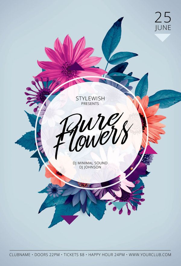 pure flowers flyer template by stylewish buy psd file for 9 typography 排版 creative poster design flower graphic design creative posters