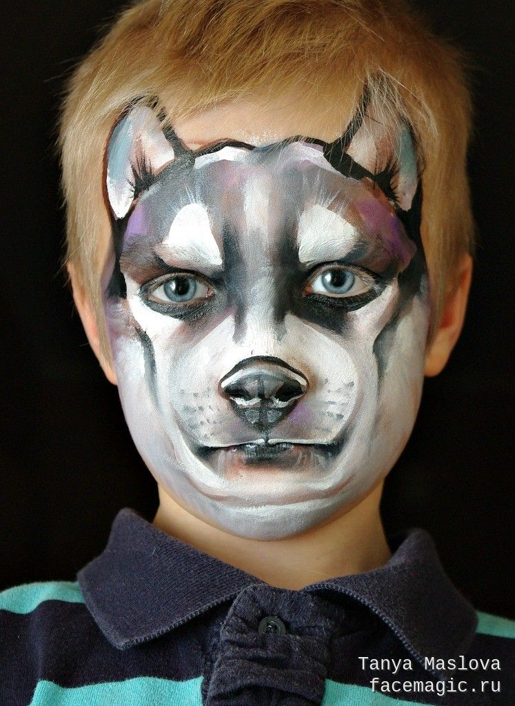 husky face paint by tanya maslova face paint dogs wolves foxes pinterest kinder. Black Bedroom Furniture Sets. Home Design Ideas