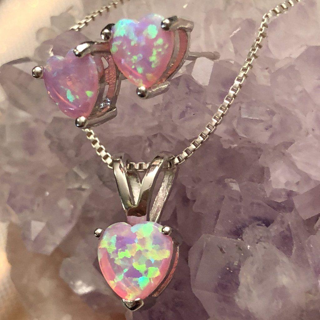 6mm Pink Opal Heart /& Diamond Pendant .925 Sterling Silver