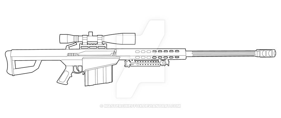barrett m82 lineart by masterchieffox deviantart on